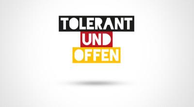 tolerant und offen - Logo dreizeilig