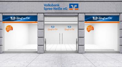 Volksbank Spree-Neiße Jubiläum - Schaufenstergestaltung