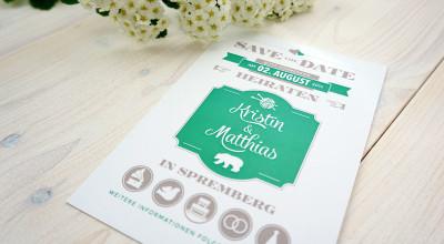 Hochzeits-Ausstattung - Save the Date-Postkarte