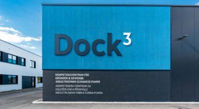 Dock3 Lausitz - Gebäudeansicht Logo - chairlines medienagentur